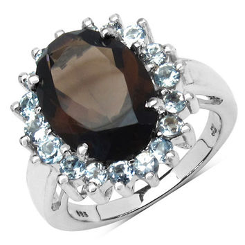 6.79 Carat Genuine Smoky Topaz & Blue Topaz .925 Sterling Silver Ring