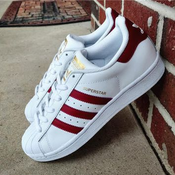 """Adidas"" Superstar Shell toe White/Burgundy Casual Sneakers"