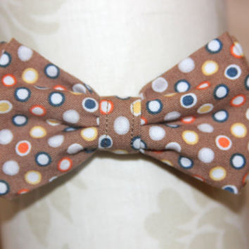 Brown, Orange, Yellow, Blue Circles & Dots Adjustable Bowtie (Baby / Infant / Toddler Boy)