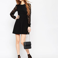 Black Lace Patchwork Long Sleeve Dress