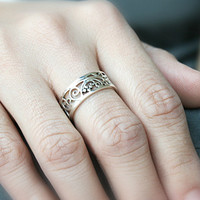 7 mm Perforated Silver Ring Sterling Ring .925 Silver Ring Personalized Ring