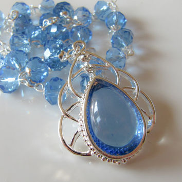Blue necklace - crystal - handmade - silver - blue jewelry - women - large pendant - Europe