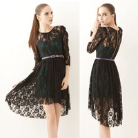 Chic Twinset Womens 3/4 Sleeve Asymmetrical High-low Lace Dress Camisole Zipper
