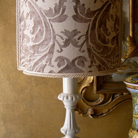 Handcrafted French Antique Finish Carved Wooden Table Lamp with Fortuny Lamp Shade