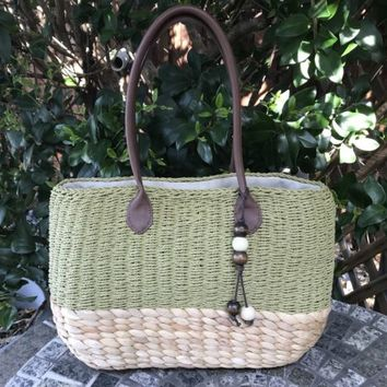 Woven Straw Natural & Green Tote Beach Vacation Bag