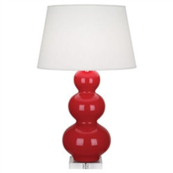 Robert Abbey Red Triple Gourd Lamp with Lucite Base
