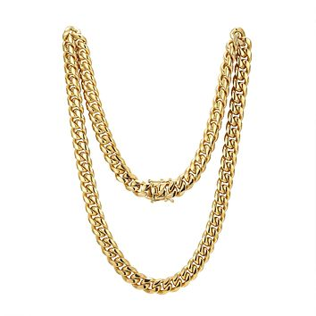 Men s Stainless Steel 10mm Miami Cuban Link 14k Gold Finish Chai 07ace397c7