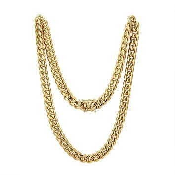 "Men's Stainless Steel 8mm Miami Cuban Link 14k Gold Finish Chain 30"" Plain Designer Necklace"
