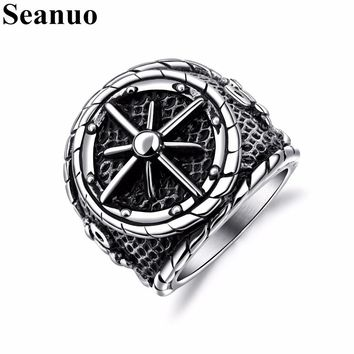 Seanuo Punk Wide Vintage Men Stainless Steel Biker Ring Jewelry Classic Titanium Male Charm Nautical Compass Hiphop Bicycle Ring
