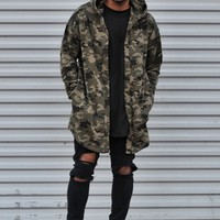 Hooded Camo Print Cardigan