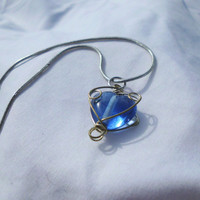 "Silver Necklace with Blue Wire Wrapped Glass Bead, ""Gabriella"""