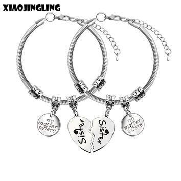 XIAOJINGLING 2Pcs/set bff Bracelets No Matter Where Sister Forever Bracelet Fashion Snake Chain Jewelry Gift for Sister Friends