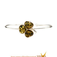 Baltic Amber Celtic Shamrock Cuff Bracelet in .925 Sterling Silver with Green Baltic Amber