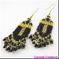 Egyptian Ankh Beadwork Dangle Chandelier Seed Bead Earrings in Black and Gold