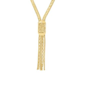14K Yellow Gold Shiny+Diamond Cut 9.8-3.7mm R ectangle Buckle On Flat Popcorn+Oval Fancy Lariat Type Necklace with Lobster Clasp