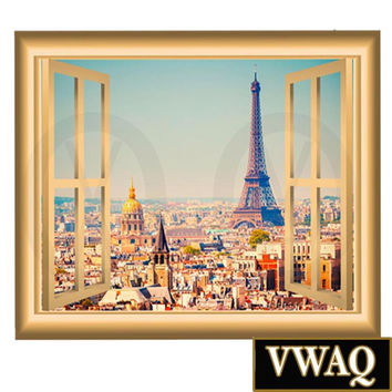 Paris France Wall Decal Eiffel Tower Mural Peel and Stick Window Frame VWAQ NW6