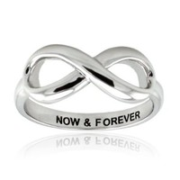 Sterling Silver Now & Forever Engraved Infinity Ring - Size 4