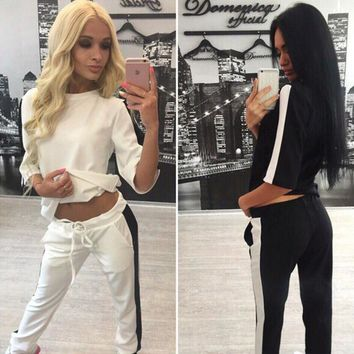 Women Casual Fashion Multicolor Stitching Middle Sleeve Trousers Set Two-Piece Sportswear