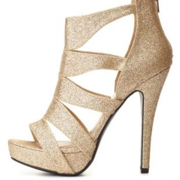 Strappy Caged Glitter Platform Heels by Charlotte Russe - Gold