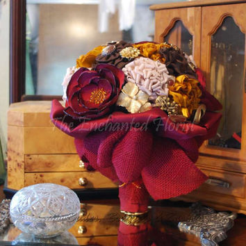 Bridal Bouquet - Brides Bouquet & Bout- Handmade Burgundy, Tan, Brown and Gold Fabric Flowers, Brooches and Embellishments Brooch Bouquets