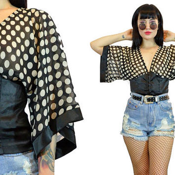 vintage 90s corset top latch satin sheer polkadot kimono top soft grunge gothic witchy vamp gauzy black + white small