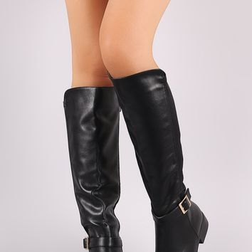 Bamboo Leather Elastane Buckled Strap Riding Knee High Boots