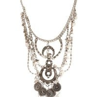 Silver Draped Metal Boho Bib Necklace by Charlotte Russe