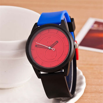 HIGHT QUALITY WOMENS FASHION CASUAL PATCHWORK SILICONE SPORTS WATCH  384