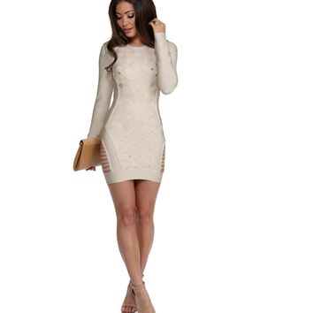 Taupe Temptress Bandage Dress