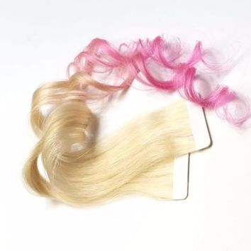 Remy Ombre Human Hair Extensions Blonde Tape in Skin Weft 613 Light Pink Hair