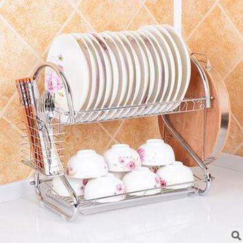 Double Tiers shelf Multi-functional Stype Stainless Steel Dish Rack Kitchen Storage Boxes Dish Drainer Cup Rack Plates holder
