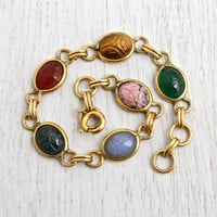 Vintage Scarab Bracelet - 12K Yellow Gold Filled Semi Precious Stone Egyptian Revival Jewelry - Tiger's Eye, Rhodonite / Colorful Beetles