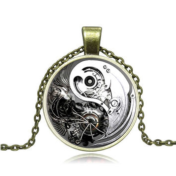 Retro Alloy Jewelry Steampunk Gears Yin and Yang Taiji Time Gem Glass Cabochon Necklace Pendant Y007