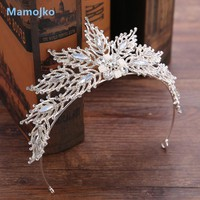Mamojko Wedding Jewelry Brand  Hair Wear Fashion Sliver-Color Crystal Flower Bride Crown Tiaras Hot Wedding Accessories Gift