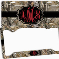 Red Camo Black License Plate Frame Monogrammed Car Tag Personalized Custom