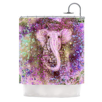 "Marianna Tankelevich ""Pink Dust Magic"" Elephant Sparkle Shower Curtain"