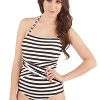 ModCloth Down for a Dip One-Piece Swimsuit in Black and White