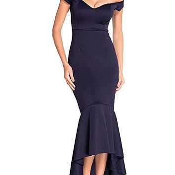 Women's Off The Shoulder Mermaid Flouncing Formal Gown Party Dress High Low Skirt