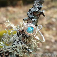Wire Wrapped Blue Swarovski Ring in Silver Plated Copper (adjustable)