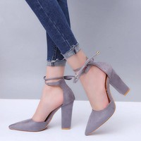 ONETOW Thick-heeled high-heeled shoes lace strap sandals