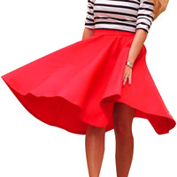 women Skirt fashion solid Vintage Women Stretch High Waist Skater Flared Pleated Swing Long Skirts women's clothing JFY66