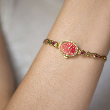Cocktail watch women's watch gold plated lady's watch Seagull red face watch ornamented oval women's watch posh watch strap for big wrist