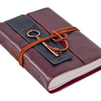 Burgundy Leather Journal - Lined Paper - Travel Journal - Leather Journal - Key Charm - Art Journal - Wrap Journal - Handmade Journal - Key