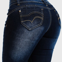 High Waist Butt Lift Skinny Jeans with Back Pockets in Dark Denim