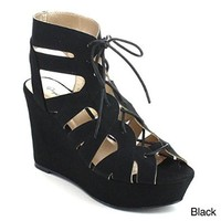 QUPID ARDOR-44 Women's Caged Lace up Cut Out Platform Wedge Sandals