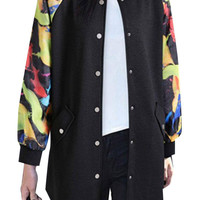 Black Plus Size Printed Sleeve Bomber Jacket