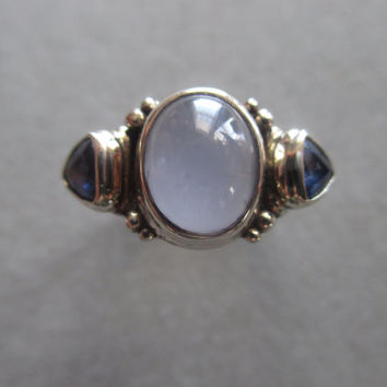 14Kt White Gold Blue Chalcedony & Sapphire Ring