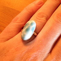 Beachy Boho Larimar Sterling Silver Ring Size 8