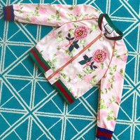 DCCKH3L Gucci' Women Fashion Multicolor Letter Flower Tiger Head Embroidery Print Long Sleeve Zip Cardigan Jacket Coat