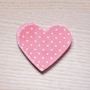 Coral and white polka dot die-cut hearts - 20 pieces. Wedding decor, large polka dot heart confetti, baby shower decor.